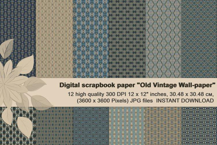Old vintage blue-beige masculine Scrapbook Paper