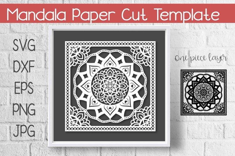 Mandala Paper Cut Template Design SVG example image 1