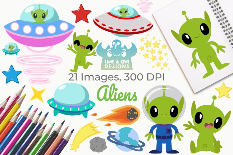 Aliens Clipart, Instant Download Vector Art, Commercial Use