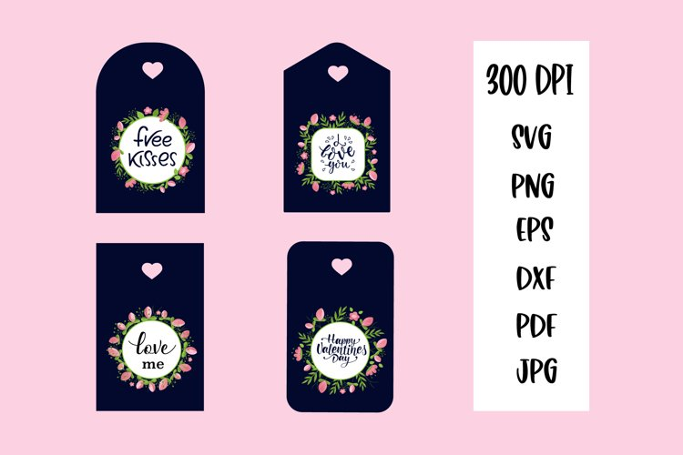 Valentine Gift Tags PNG. Valentines day quotes example image 1