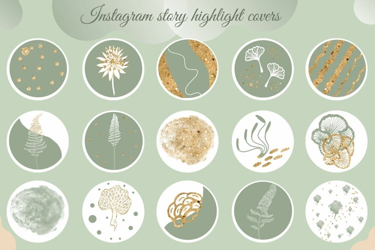 Sage green gold Instagram story icons, nature IG stories
