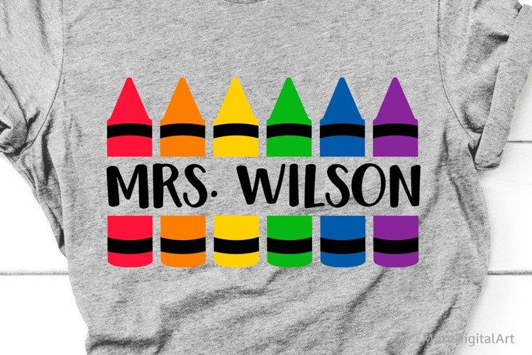 Crayon Split Monogram Svg, Teacher Crayon Svg, School Svg