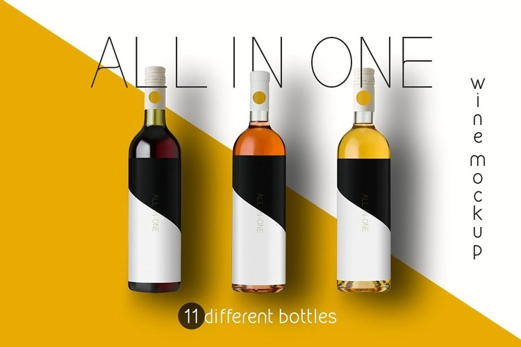 All-In-One Wine Bottle Mockup example image 1