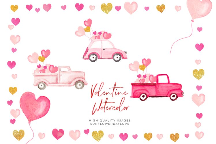 Pink and Gold Heart Balloon clipart, Valentine Clipart example image 1