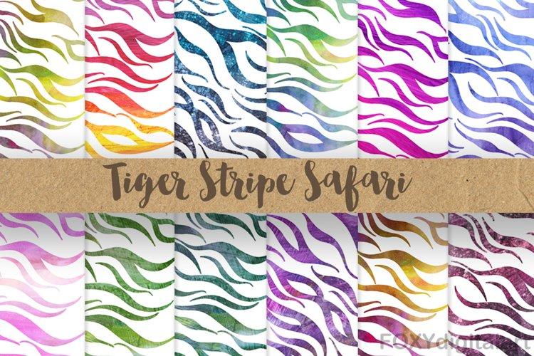 Safari Tiger Stripe Animal Print Digital Paper Scrapbook example image 1
