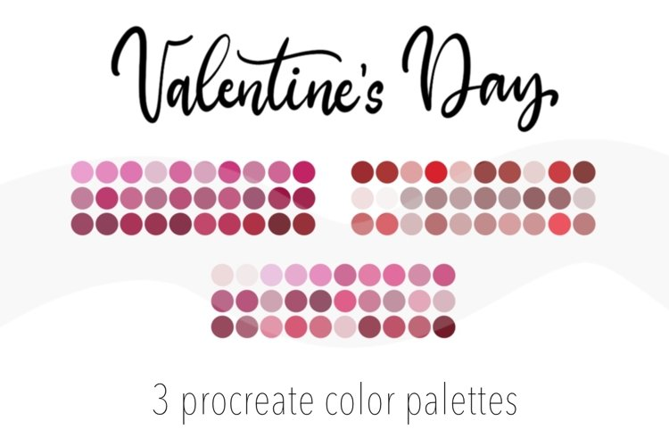 Valentine's Day3 color palettes for Procreate.90 Swatches example image 1