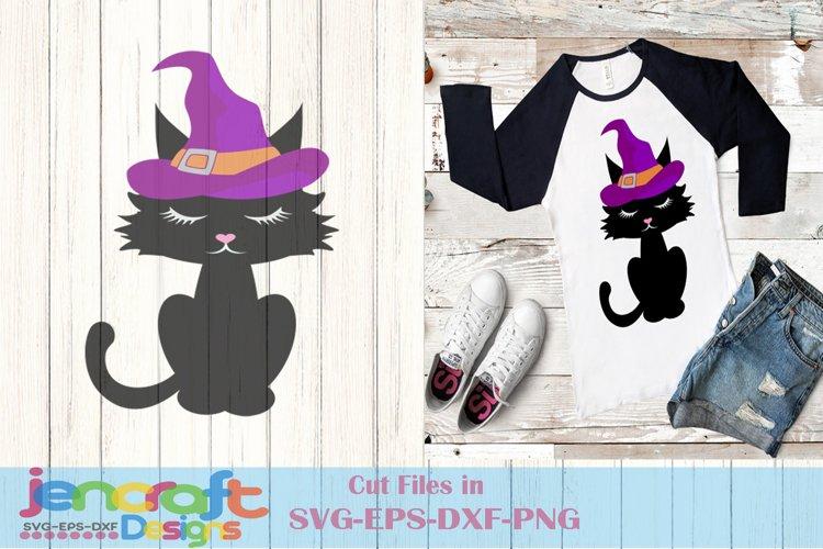 Black Cat Witch Hat Halloween Trick or Treat Cauldron