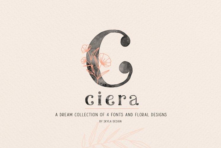 Ciera watercolor svg font family & floral logos clipart example image 1