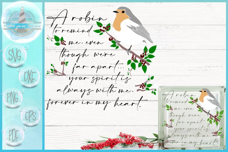 SVG Robin To Remind Me Quote Glass Block Design Christmas example image 1
