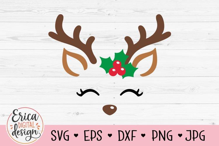 Reindeer face SVG Christmas Santa reindeer Cute deer Holly example image 1