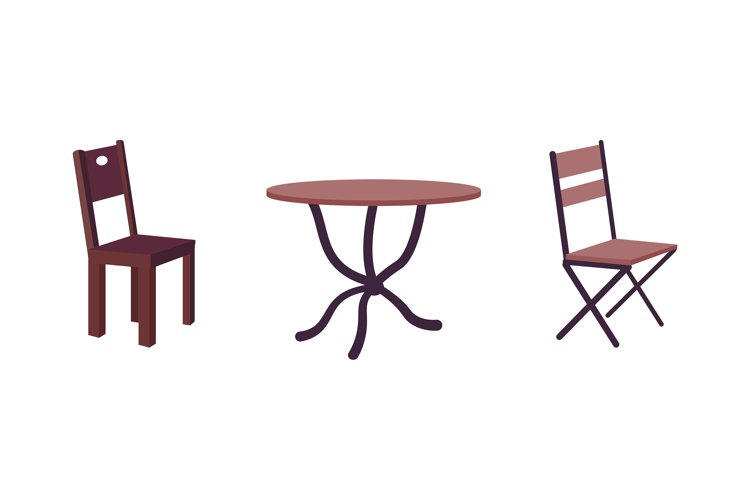 Contemporary cafe furniture flat color vector object set example image 1