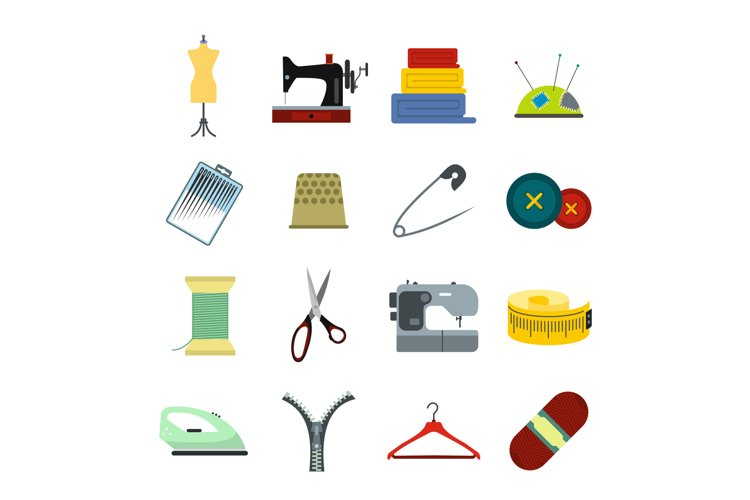Sewing flat icon example image 1