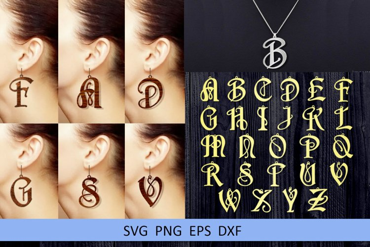 26 Leather earring svg Alphabet earrings Necklace example image 1