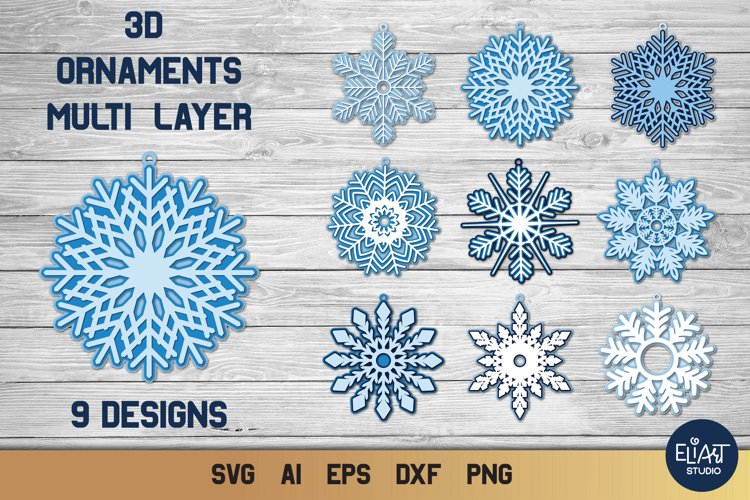 Snow Flake SVG 4 For Personal /& Commercial Use *Instant Download* 5 Layer 3d Mandala svg Christmas SVG Bundle