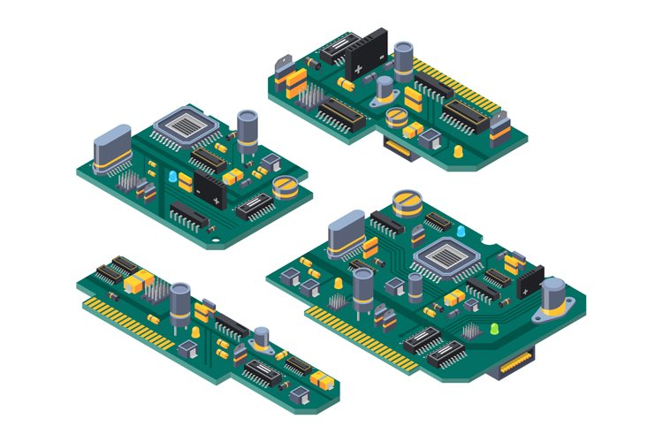 Different computer boards with semiconductors, capacitor and example image 1