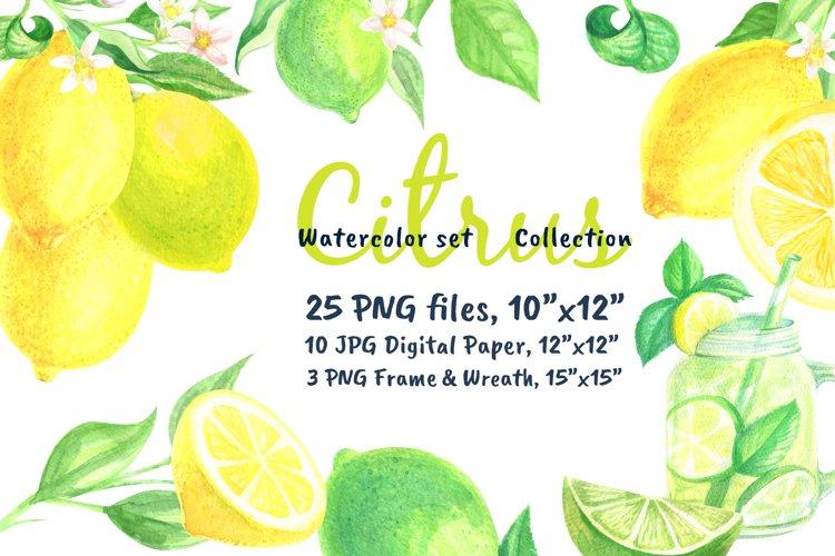Watercolor set Lemonade Citrus Graphics example image 1