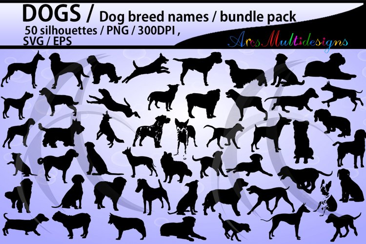 dog silhouette svg / 50 dog / dog breed names with pictures PNG / SVG / EPS / puppy/ Hq / vector / pets silhouette / animal silhouette example image 1