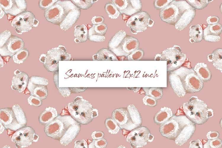 Digital paper with Teddy 1. Seamless pattern design example image 1