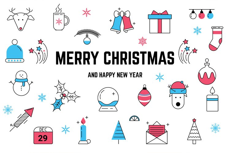 Christmas Line icons and patterns example image 1