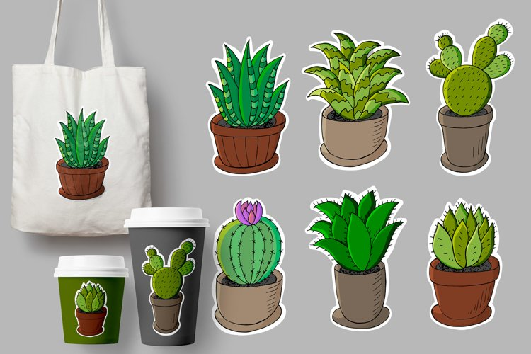 Set of cartoon images of cacti in flower pots. Cacti example image 1