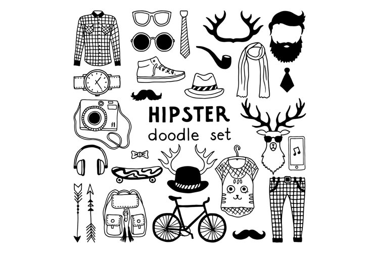 Vector doodle set with different hipster style elements example image 1