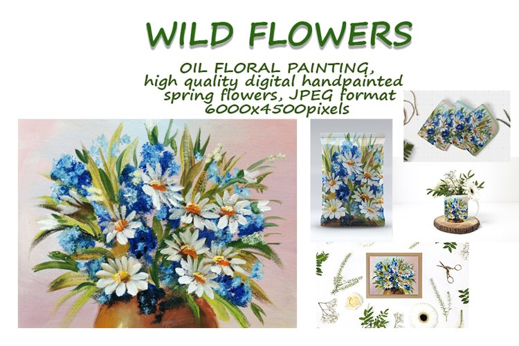 Daisies and cornflowers. Wild flowers in a vase, painting