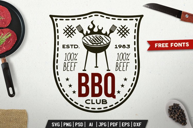 BBQ Club Print Design for TShirt. Retro Vector SVG Cut File