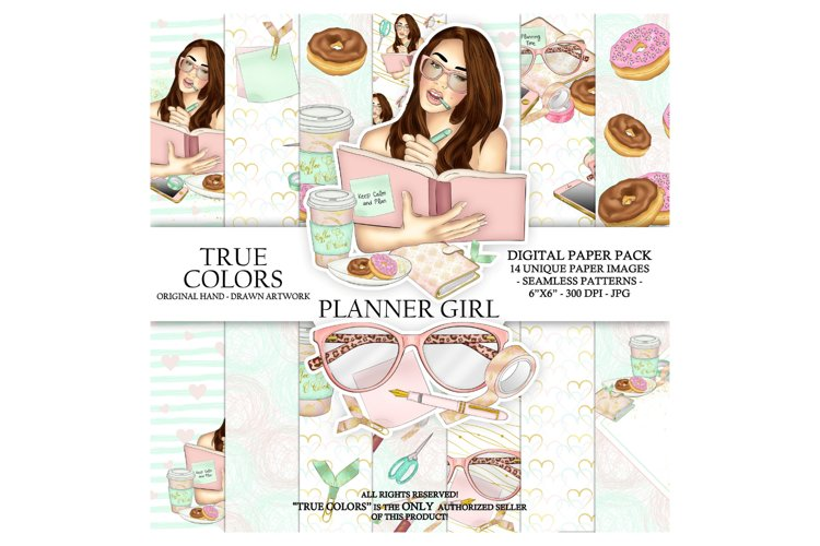 Planner Girl Digital Paper Pack Planning Fashion example image 1