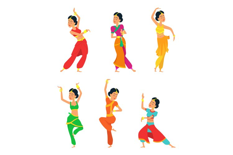 Indian dancers isolate on white background. Characters set example image 1