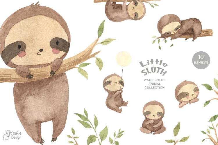 SLOTH clipart. Watercolor baby sloth png example image 1