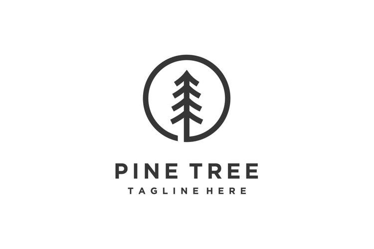 Pine trees forest minimalist line art circle logo design example image 1