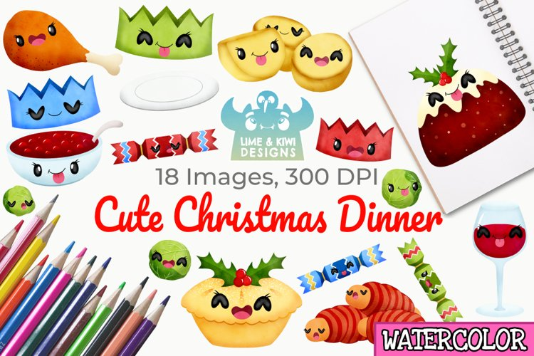 Cute Christmas Dinner Watercolor Clipart, Instant Download example image 1