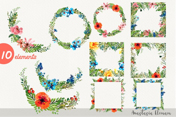 Frames and wreaths flower power 10 isolated clipart jpg png example image 1
