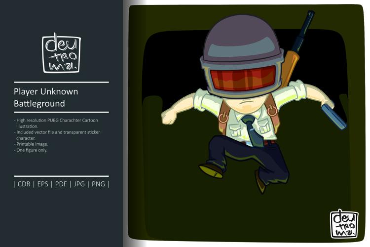 Player Unknown Battleground Cartoon Illustration Vector
