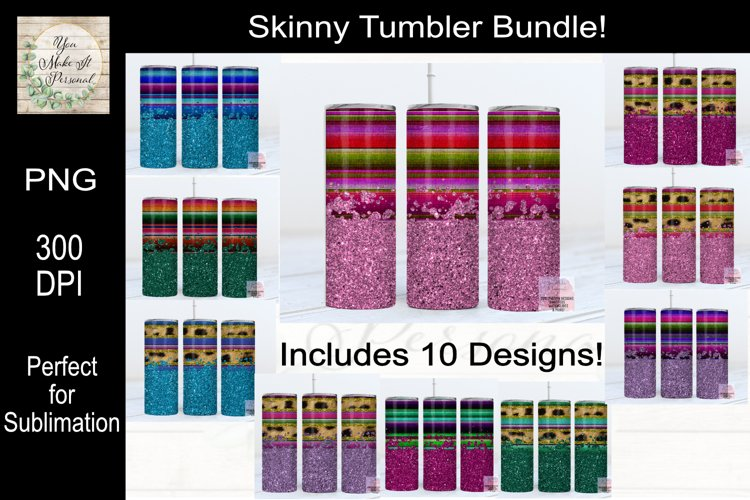 Leopard, Serape and Glitter Sublimation Tumbler Bundle example image 1