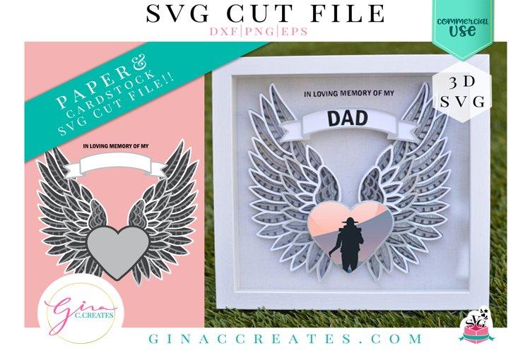 3D Angel Wings Memorial SVG Cut File