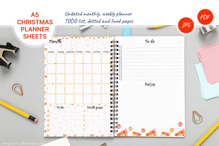Undated monthly and weekly planner's sheets. Christmas theme example image 1