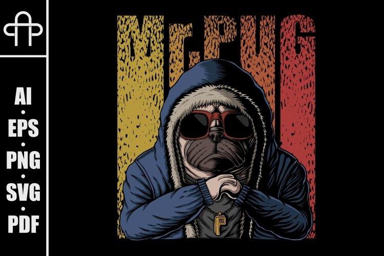 Mr pug dog vector illustration example image 1