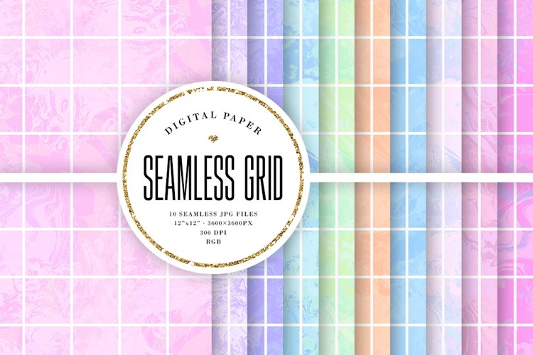 Seamless Big Grid Patterns - Abstract Paint Pastel Textures