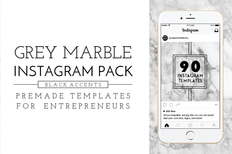 Grey Marble and Black Instagram Pack example image 1