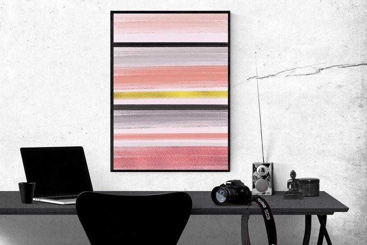 Abstract Geometric Peach Black & Gold Art Set of 2 | Digital example image 1