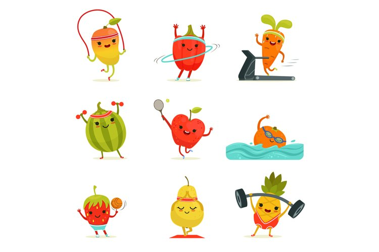 Funny Fruits Make Fitness Exercises Vector Cartoon Set With 767113 Illustrations Design Bundles