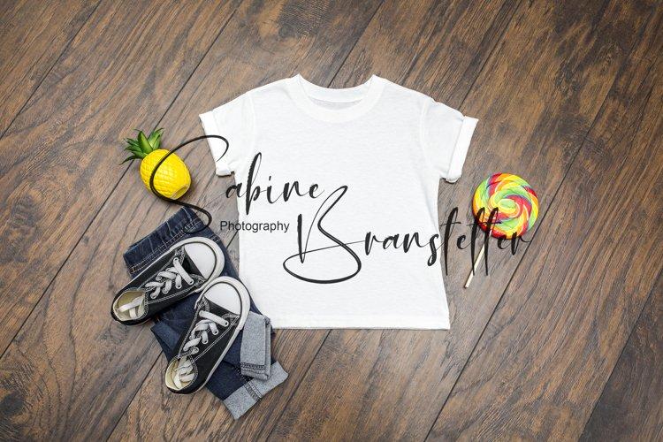 Mockup Boy Kid's White Summer T-shirt Photography example image 1