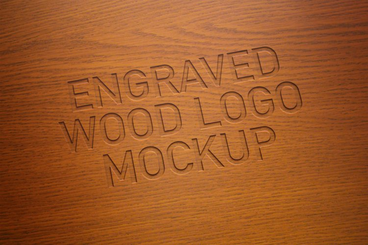 Engraved Wood Logo Mockup example image 1