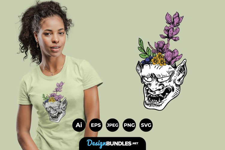 Hannya Mask And Flowers for T-Shirt Design example image 1
