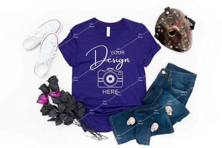 Halloween Mockup Bella Canvas 3001 Team Purple T-shirt