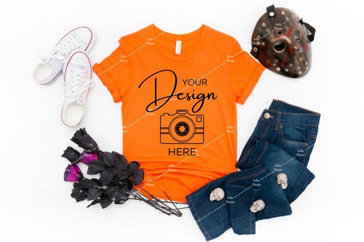Halloween Mockup Bella Canvas 3001 Orange T-shirt Mock up
