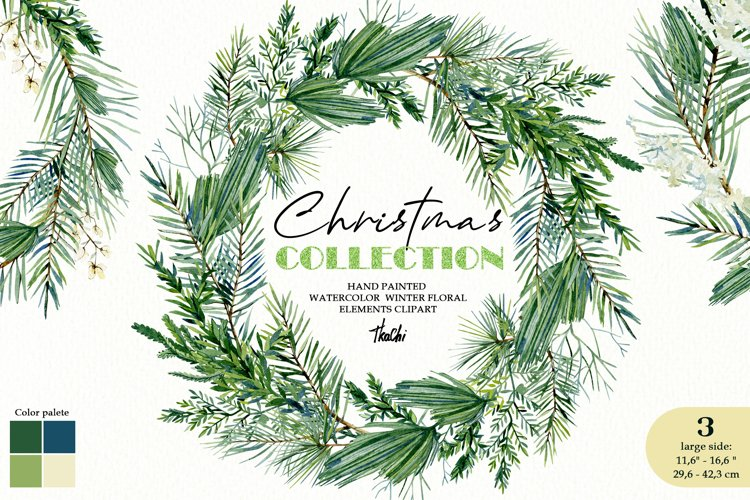 Watercolor christmas wreath clipart. Christmas greenery example image 1