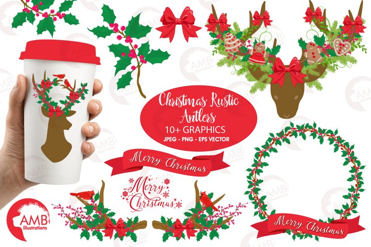 Christmas Rustic Antlers clipart, graphics and illustratins AMB-1506 example image 1