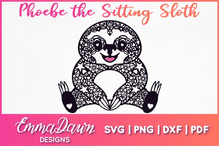 PHOEBE THE SITTING SLOTH SVG MANDALA / ZENTANGLE DESIGN example image 1